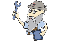 a cartoon character named otto with a wrench and a beard