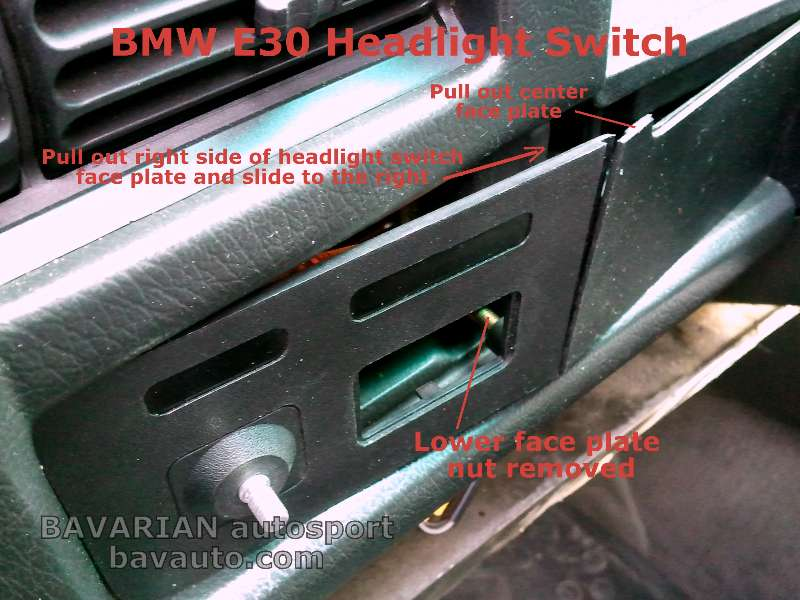 bmw e30 headlight switch removal diy 325i and others bavarian rh blog bavauto com BMW E30 Dash Cover E30 Interior