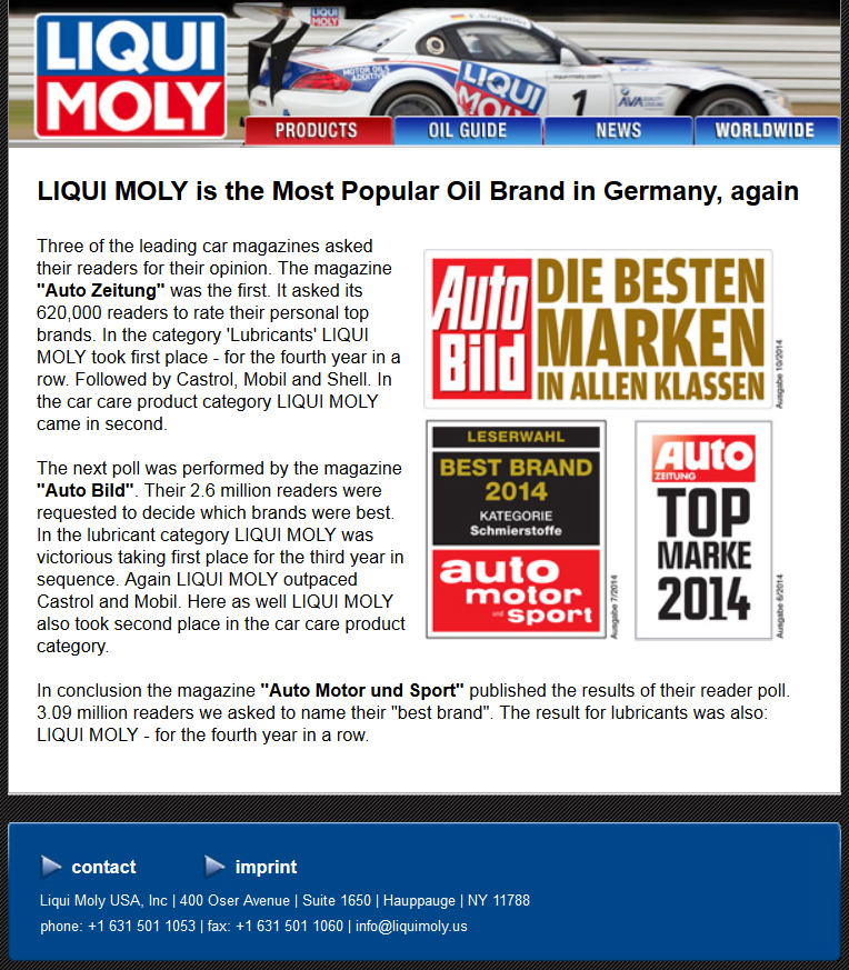 Liqui-Moly Voted Best Motor Oil in Germany | Bavarian Autosport Blog